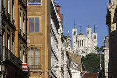 Basilica over the steet of Lyon Stock Photography