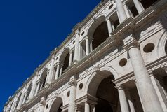 Basilica Palladiana arches with blue sky stock images