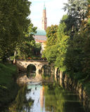 Basilica Palladiana in Vicenza city with Retrone River Royalty Free Stock Photo