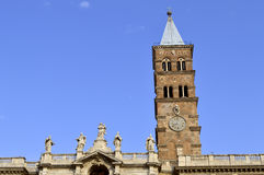 Basilica Papale di Santa Maria Maggiore church clock tower. Rome, Italy - September 11, 2016 : Detail of the historical Basilica Papale di Santa Maria Maggiore Stock Photography