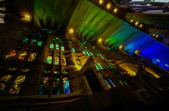 Basilica of redemptive temple of the Holy Sagrada family by Antonio Gaudi stock images