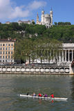 Basilica and rowers Royalty Free Stock Photography