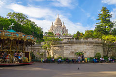 Basilica Sacre Coeur. With carousel royalty free stock image