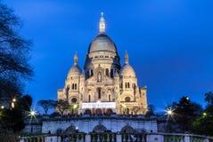 Basilica Sacre Coeur in Montmartre in Paris. Evening view of Basilica Sacre Coeur in Montmartre in Paris, France Stock Photos
