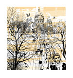 Basilica Sacre Coeur at Montmartre in Paris. France - vector illustration Stock Photos