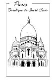 Basilica of Sacre Coeur in Montmartre, Paris. Illustration in draw, sketch style. Basilica of Sacre Coeur, Montmartre. Paris symbol. The Basilica of the Sacred Royalty Free Stock Images