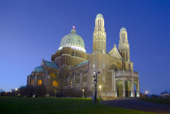 The Basilica of the Sacred Heart in Brussels, Belgium. Evening view of The Basilica of the Sacred Heart in Brussels, Belgium Stock Image