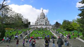 The Basilica of the Sacred Heart in Montmartre. Paris-Time Lapse stock video