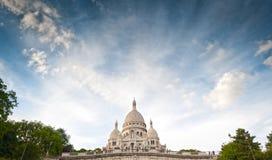 Basilica Sacred Heart of Paris. Wide view of Basilica of the Sacred Heart of Paris with blue cloudy sky (Paris, France, Europe Stock Images