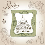 The Basilica of the Sacred Heart of Paris, France. Picture of Basilique du Sacré-Cœur. Scrapbooking hand drawing  kit. Royalty Free Stock Images