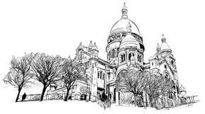 Basilica of the Sacred Heart, Paris, France. Vector illustration Royalty Free Stock Photo