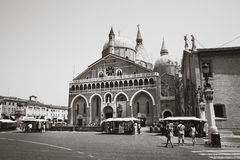 Basilica of Saint Anthony of Padua. Black and white Stock Image