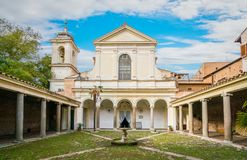 Courtyard of the Basilica of San Clemente al Laterano in Rome, Italy. The Basilica of Saint Clement is a Roman Catholic minor basilica dedicated to Pope Clement Stock Photography