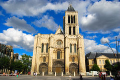 Basilica Saint Denis and Saint Denis main square Stock Image