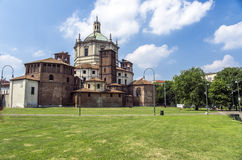 Basilica of Saint Lawrence, Milan, Italy. The Basilica of Saint Lawrence (Italian: Chiesa di San Lorenzo Maggiore) is a church in Milan, northern Italy royalty free stock image