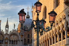 The Basilica of Saint Mark at the Piazza San Marco. St Mark's Square, Venice, Italy. The evening view of Saint Mark Cathedral at the Piazza San Marco. St Mark's royalty free stock photo