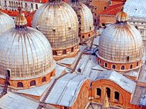 Venice, Italy. Basilica of Saint Mark. Rooftop of Basilica of St. Mark showing Cupolas Royalty Free Stock Photography