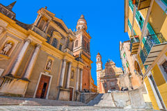 Basilica of Saint Michael Archange in Menton, France. Stock Image