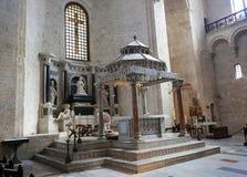 Basilica of Saint Nicholas in Bari, Puglia, Italy. Ciborium (created around 1110) of the Basilica of Saint Nicholas, a church dedicated to Saint Nicholas of Stock Photo
