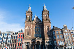 The Basilica of Saint Nicholas in city centre district of Amsterdam, Netherlands. Royalty Free Stock Photography