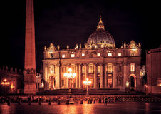 Basilica of Saint Peter at night, Rome royalty free stock photography