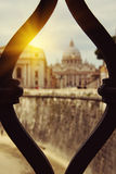 Basilica of Saint  Peter's view from bridge Saint Angel, Rome, I Stock Photography