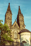 Basilica of Saint Peter and Saint Paul, Vysehrad in Prague, old Stock Image