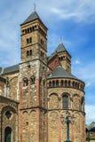 Basilica of Saint Servatius, Maastricht, Netherlands. The Basilica of Saint Servatius is a Roman Catholic church dedicated to Saint Servatius, in the city of Stock Photo