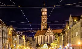 Basilica Saint Ulrich in Augsburg at night Stock Photos