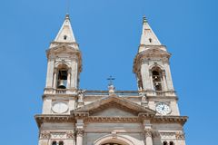 Basilica of Saints Cosmas and Damian Alberobello Puglia Italy. Facade of the Basilica of Saints Cosmas and Damian Alberobello, Italy Stock Photo