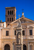 Basilica San Bartolomeo. Photograph of tower and entrance to San Bartolomeo all'Isola,Roma, Italy Royalty Free Stock Images