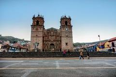 Basilica San Carlos Borromeo della cattedrale o la cattedrale di Puno dentro Fotografia Stock