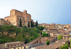 Basilica of San Domenico and Fontebranda Stock Image