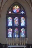 Basilica San Domenico Siena della finestra di vetro macchiato Immagine Stock