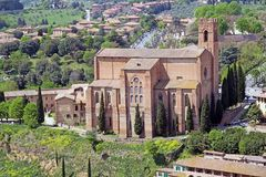 Basilica of San Domenico, Siena, Tuscany, Italy. It is one of the most important in the city. It was begun in 1226-1265 and was enlarged in 14th century. It Stock Photography