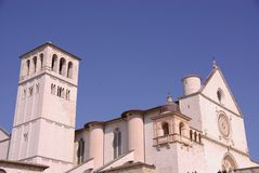 The basilica of san Francesco in Assisi Stock Photo