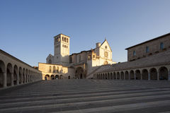 Basilica of San Francesco of Assisi after sunrise Royalty Free Stock Image