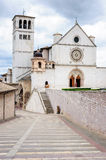 Basilica of San Francesco of Assisi at sunset, Umbria, Italy Stock Photography