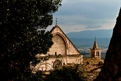 Basilica San Francesco Assisi. Upper section of San Francesco Basilica in Assisi royalty free stock photo