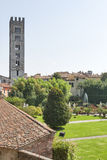 Basilica San Frediano and Pfanner Garden. Lucca, Italy. Royalty Free Stock Images