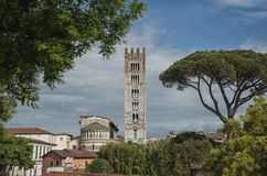 Basilica of San Frediano in romanesque style - XII century in the ancient town of Lucca,  Tuscany. Basilica of San Frediano in romanesque style - XII century in Royalty Free Stock Image