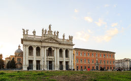 Basilica San Giovanni in Laterano. Fixed distortion. SunSet. Rom Royalty Free Stock Image