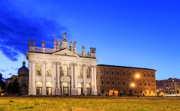 Basilica San Giovanni in Laterano. Fixed distortion. SunSet. Rome, Italy Stock Photography