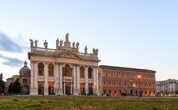 Basilica San Giovanni in Laterano. Fixed distortion. SunSet. Rome, Italy Stock Photos