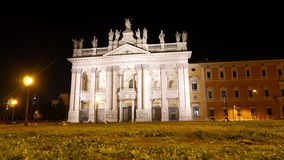 Basilica San Giovanni in Laterano. Night. Rome, I stock video