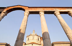 Basilica and San Lorenzo columns,  Milan Stock Images