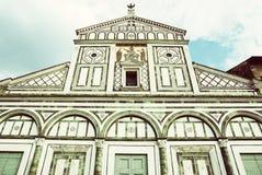 Basilica San Miniato al Monte, Florence, Italy, retro filter Stock Image