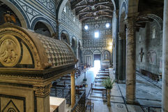 Basilica of San Miniato al Monte. Internal view of the beautiful church in Florence Royalty Free Stock Photos