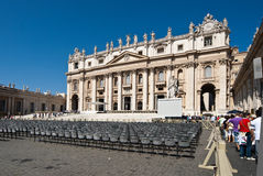 Basilica San Peitro. The main facade of the Roman- Catholic Basilica San Pietro in Vatican City royalty free stock image