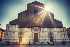 The Basilica of San Petronio ,  Piazza Maggiore, in Bologna. Royalty Free Stock Photo